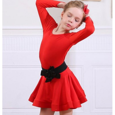 Children Black red latin dresses girls kids children stage performance competition latin salsa chacha rumba dance dresses outfits