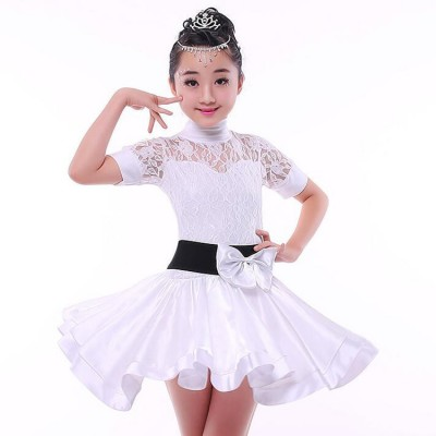 Children girls latin rumba salsa chacha ballroom performance competition white lace dancing dresses