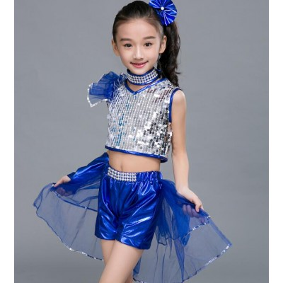 Children jazz dance costumes  boys girls sequined stage performance competition modern dance hiphop drummer dancing outfits
