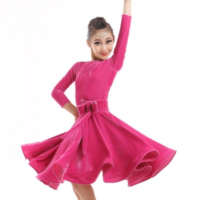 Children Kids Long Gymnastics Latin Dancewear Competition Dancing Clothing Dance Costume Child Latin Dance Dress For Girls