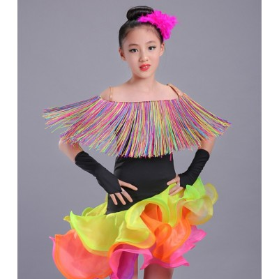 Children Latin Dance Dress rainbow fringes Girls competition Cha Cha Rumba Samba Ballroom Clothing For Dance Roupa Infantil Feminina