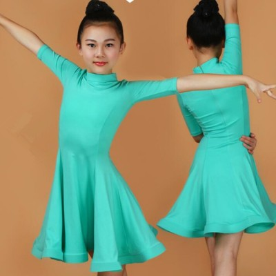 Children latin dance dresses for girls red black mint blue violet  competition stage performance salsa chacha rumba ballroom dresses