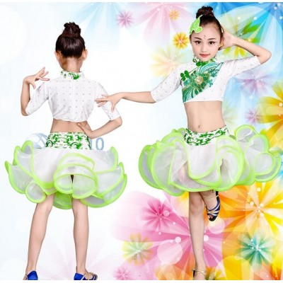 Children latin dresses china style girls kids children stage performance competition salsa chacha rumba dance dresses costumes