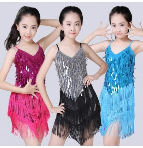 Children latin dresses sequined silver white gold red turquoise girls competition salsa chacha rumba fringes latin dance dresses