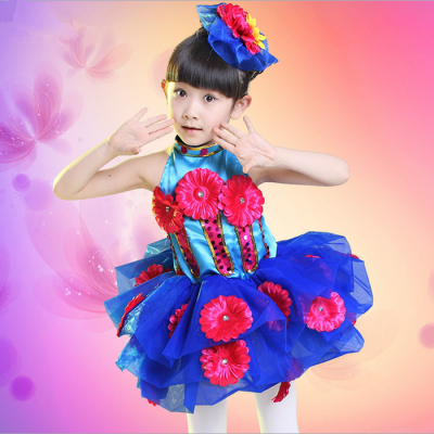 Children Modern Dance Tulle Dress Girl Ballet Dress Performance Leotard Costume Baby Girls Flower Jazz TUTU Dress