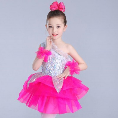 Children sequined Jazz dance singers girls blue pink yellow modern dance performance school competition costumes  princess Dress Kids stage wear