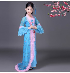 China folk dance costumes for girl's kids children blue stage performance ancient traditional princess fairy han cosplay dancing dress