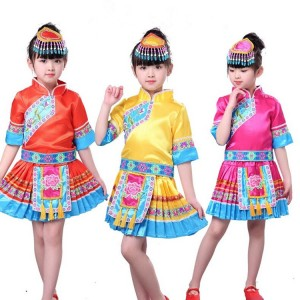 China miao hmong folk dance dress  for kids girls classical  traditional chinese  Chinese folk minority ancient costumes
