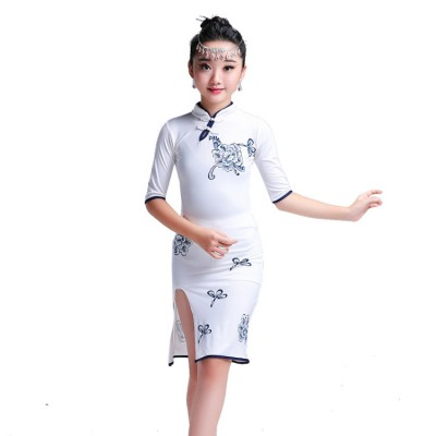 China style side split latin dresses girl's kids children stage performance competition cheongsam chacha rumba latin dance dresses
