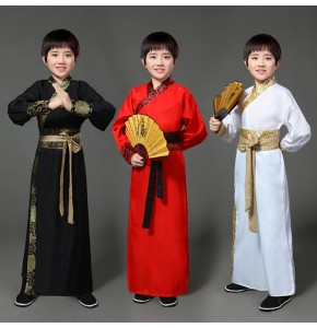 Chinese Folk dance costumes for boy kids red black traditional hanfu drama anime performance cosplay robes costumes