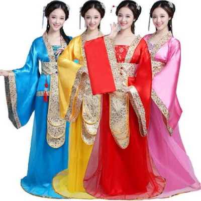 Chinese folk dance costumes for female women stage performance drama ancient traditional film fairy  anime cosplay dancing robes dresses