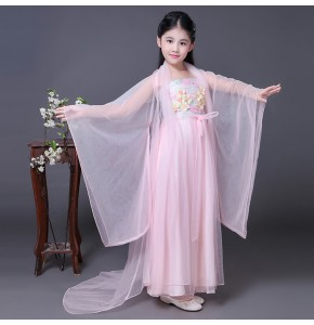 Chinese folk dance costumes for girls children pink hanfu performance drama fairy anime cosplay photos dancing dresses robes