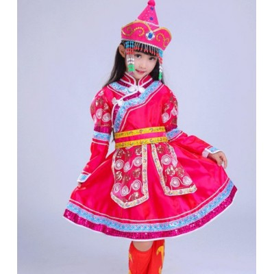 Chinese folk dance costumes for girl's children pink performance Mongolian competition dancing robes