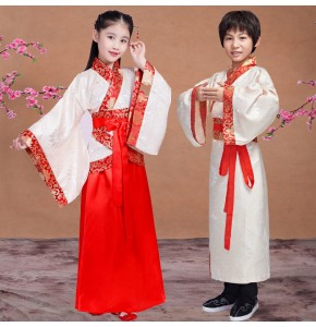 Chinese folk dance costumes for kids children boy girls hanfu ancient classical performance kimono cosplay dress