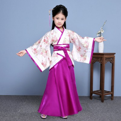 Chinese folk dance costumes for kids children hanfu traditional princess kimono fairy tang dynasty  cosplay performance dress