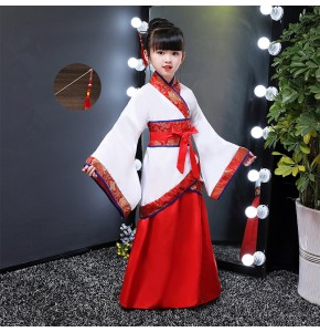 Chinese folk dance costumes for kids children red blue ancient traditional han film performance japan kimono cosplay dance robes dress