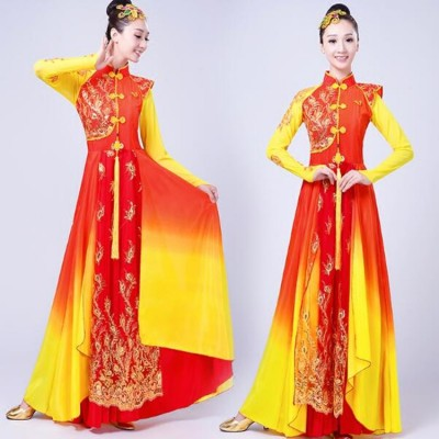 Chinese folk dance costumes for women female ancient traditional yangko fan performance cosplay red gold gradient color long dresses