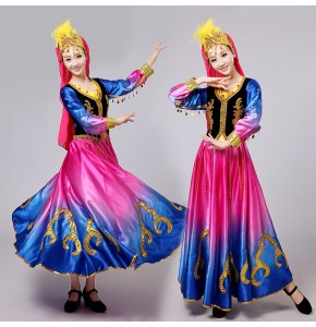 Chinese folk dance costumes for women orange blue pink xinjiang minority stage performance photos cosplay dance dress