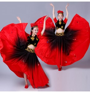 Chinese folk dance costumes for women xinjiang minority ethnic black and red gradient swing dress