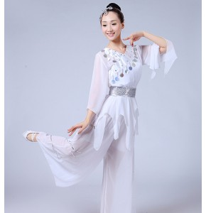 Chinese Folk dance costumes for women's female competition white stage performance china ancient traditional yangko fan dance dresses
