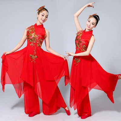 Chinese folk dance costumes for women's male competition red gradient yangko fan drummer dance performance dresses