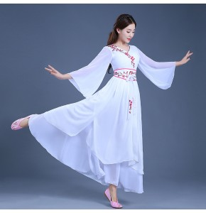 Chinese  folk dance dress for women white color female ancient fairy traditional performance photos film cosplay dresses