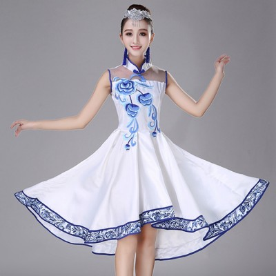 Chinese folk dance dress White and blue china style  classical folk music ancient dancing dresses