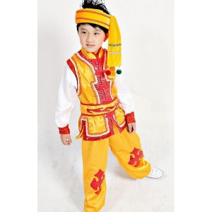 Chinese kids children folk dance costume dress Miao clothing for boy modern hmong clothing children traditional chinese costume