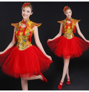 Chinese perform drum Costumes gold red Color Children Fan Yangko Classical Dance costumes Stage