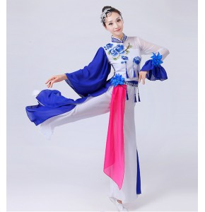 Chinese Traditional Chinese Fairy Dress royal blue and White Chinese Ancient folk dance Costumes outfits