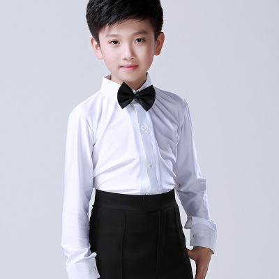 Classical Black white  Boys Latin Dancing Shirts Long Sleeve Modern Tango Dance Clothing  leotards Top Kids Stage Performance Costume