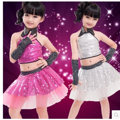 Collar Halter Sequins Veil Dress Skirt fuchsia silver Children's Dancewear Performance Clothes Modern Latin Dance Stage Costume