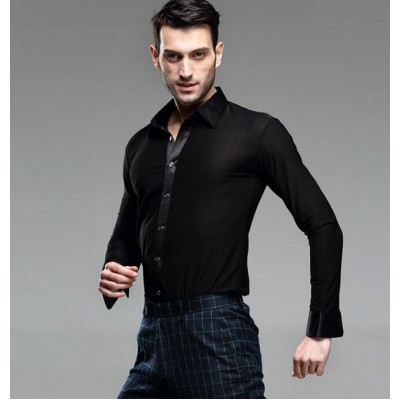Competition performance Black  white Waltz Latin Dance Top Men Latin Dance Shirts Men Ballroom long sleeves Dance Shirts