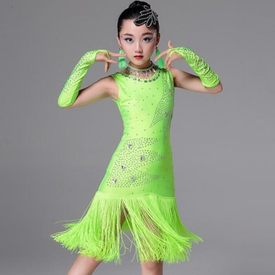 Competition performance latin dress for kids children neon green white black red professional stones fringes salsa chacha rumba dance dress