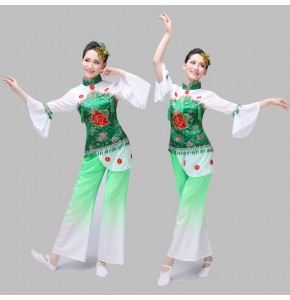 Costume chinese Ancient Traditional Plus Size Dress Chinese Yangko Dance Costume Folk Dance Costume Fan Dance costumes
