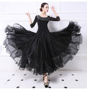 Custom size stones Ballroom Competition Dance Dress Women Tango Flamenco Dancing Costume Black red hot pink Waltz Ballroom Dresses