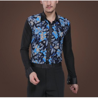 Dance modern dance leotard competition clothing adult long-sleeve shirt male Latin dance