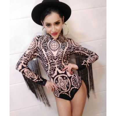 DS performance Rhinestone Outfit DJ costume women Singer Sexy Club Printing Sequin Tassel  Jazz Long Sleeve Bodysuit dresses