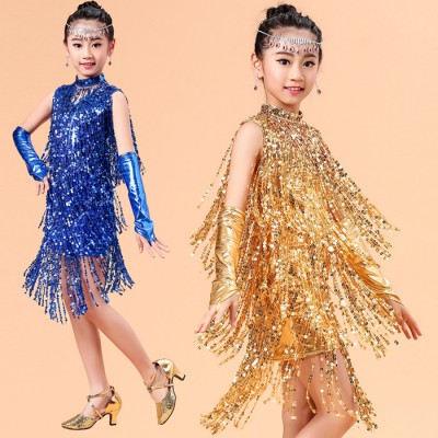 Fashion Luxury Sequined Tassel Children Latin Dance Dresses Girls Princess Gem Frontal Chain Samba / Rumba Costume