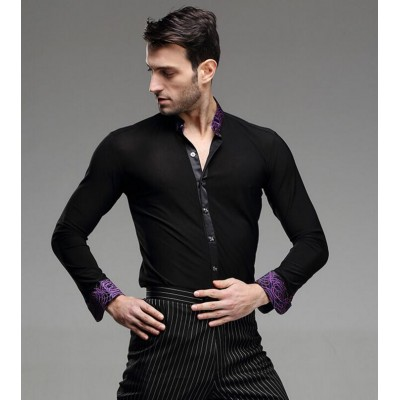 Fashion Mens Latin Dance Shirt Black With purple printed collar Men's Ballroom Shirts Cha Cha Samba Modern Rumba Tango Salsa Dance Shirt