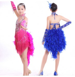 Feather latin dresses girl's kids children royal blue hot pink green competition ballroom latin salsa fringes sequined dance dresses