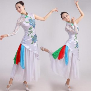 Female white lace traditional chinese folk dance costume yangko dance clothing chorus drum fan dance dress