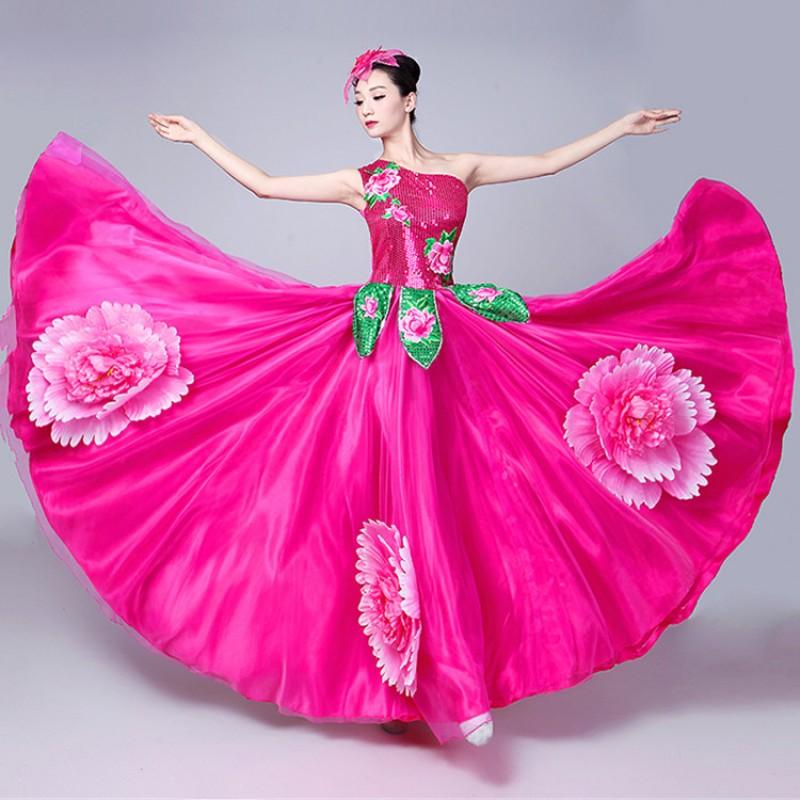10af48e4e089 Flamenco bull dance dress for women Spanish folk dance female fuchsia  petals opening chorus singers performance