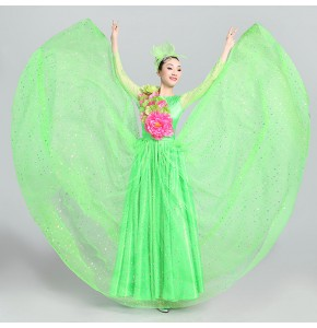 Flamenco dresses for women female pink yellow white stage performance spanish bull dance opening dance chorus singers long dresses