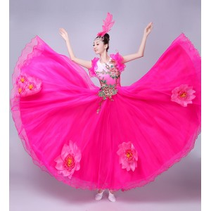 Flamenco dresses women's petals fuchsia red  modern dance singers chorus female stage performance ballroom opening dancing dresses