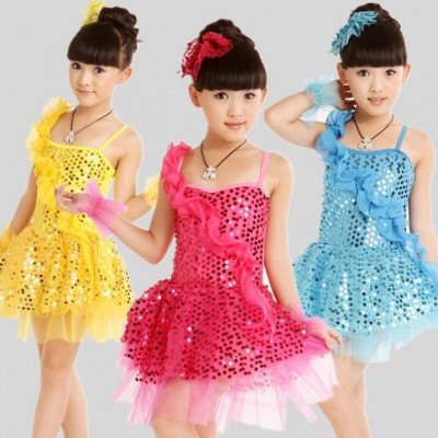 flamenco dresses yellow/rose/blue kidsModern dance costume sequin dance dress new girls latin dress