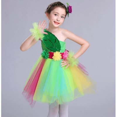Flower girls modern dance dresses rainbow modern dance singers chorus dresses school performance outfits