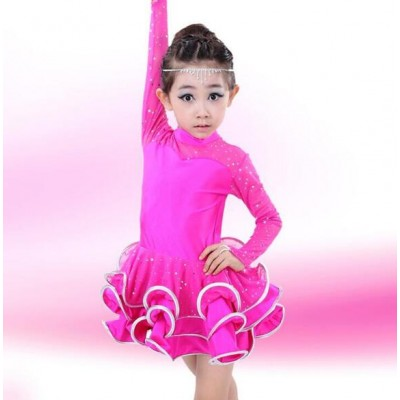 For Girls Samba Dress red pink Dancing Dress Girl Dancewear Kids Kid Costume Ballet Vestido Baile Latino Girls