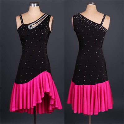 Fuchsia black Lady performance dress Women latin dance clothes latin dance dress girls stones tassel latin dance dresses dancer clothing