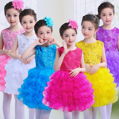 Fuchsia blue pink yellow white  Children Girls Tutu Dress For Girl Kids singers Ballet Dancing Costume  Performance Hostess Concert Dance dresses